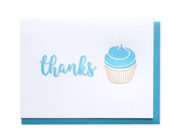 Cupcake Thanks Letterpress Box Set of 5 Cards // Buttercream // Icing // Thank You // Gratitude
