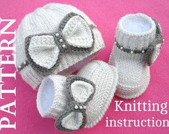 Knitting PATTERN Baby Set Baby Shoes Knitted Baby Hat Pattern Baby Booties Baby Boy Baby Girl Pattern ( PDF file )