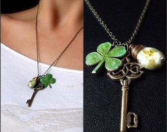 Clover leaf and skeleton key St. Patricks Day necklace, green vertigris leaves, st. paddy's day, charm necklace