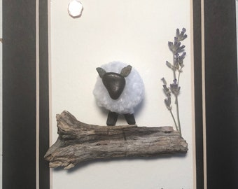 Mothers Day Handcrafted Sheep Pebble Art Gift Shadowbox Decor