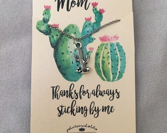 Mother's Day silver tiny cactus necklace - gift for mom - present for stepmom - mother in love - mama