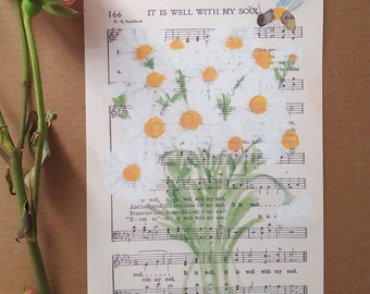 It is Well With My Soul - Hymn - Hymnal - Art Print - Watercolor Painting - Daisy - Church Worship Music