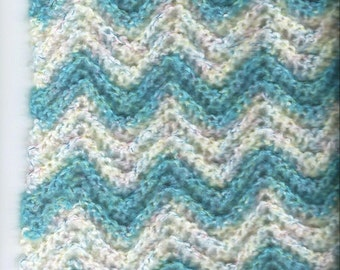 Baby Afghan-SOOOO SOFT-Turquoise Blue Waves-Ripple Handcrocheted BABY Shower Gift