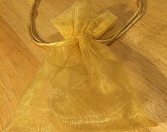 Sheer Gold Lame Drawstring Bag