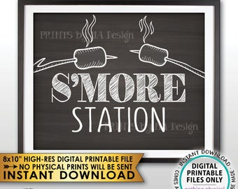"""S'more Station Sign, Roast Marshmallows Smore Station, Roast S'mores Bar, Campfire, PRINTABLE 8x10"""" Chalkboard Style Instant Download Sign"""