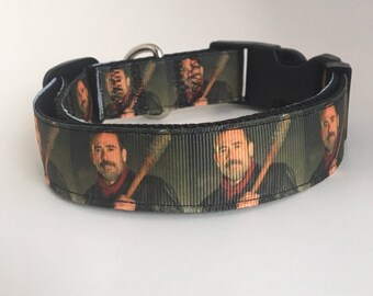 Inspired by Negan dog collar, adjustable dog collar, red buckle, zombies, the walking dead