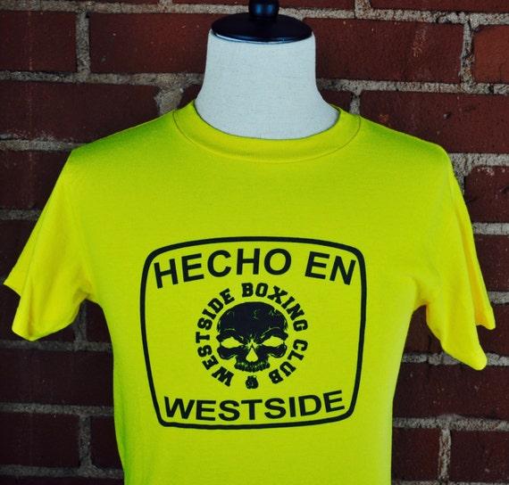 Bright Yellow Hecho En Westside Boxing Club T Shirt Tee Sz S.