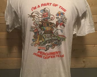 Vintage 1980's Unique Cartoon Robot Pergament T-Shirt Great Color Made in USA