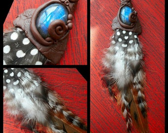 Dread Hair hat necklace labradorite feather jewelry Pendant