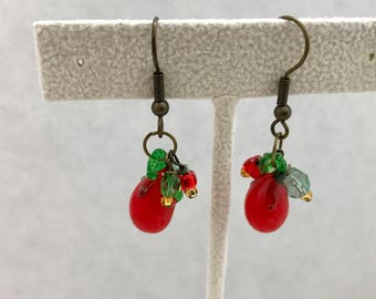 Tomatoes Red Green Lampwork Glass Dangle Earrings Doodaba