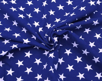 Combed Cotton Lycra White Stars on Blue Fabric Jersey Knit by Yard 4 Way Stretch 9/17
