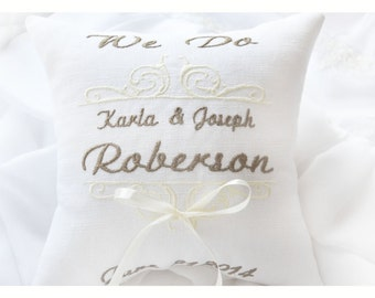 Abbiamo cuscino nuziale cuscino portatore di anello, anello nuziale cuscino, cuscino portatore anello personalizzato, ricamata cuscino (BRP11)