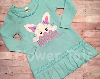 Girls Easter Bunny Dress - Easter Dress, personalized, applique, monogram, custom