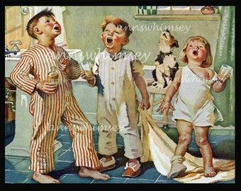 Bathroom Art, Dentist or Dental Hygienist Art. Dog and Kids Art, Kids and Dog Gargle, Good Morning Song, Child's Room, Bath, Anywhere  #277