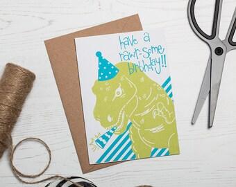 Dinosaur Birthday Card - Screen Printed Greetings Card