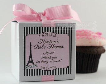 PARISIAN BABY SHOWER...One Dozen Personalized Cupcake Mix Baby Shower Favors