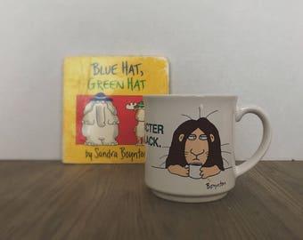 Vintage Sandra Boynton Mug, Cartoon Mug, Boynton, Those of Real Character Drink Their Coffee Black, Recycled Paper Products