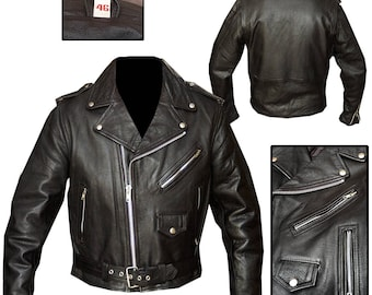 REAL Leather Vintage Style Motorcyle Jacket / Rockabilly Jacket / Biker Jacket / Rocker Jacket