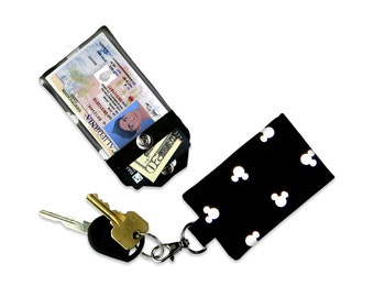Disney Mickey Mouse Ears Mini Wallet Card Holder Keychain Clear ID Holder Accessory Bag Small Wallet Student ID Badge Credit Card Keychain
