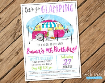Glamping Party Invitation, Glamour Camping, Vintage Camper Invitation, Shasta Camper Party, Printable Birthday Party Invitation