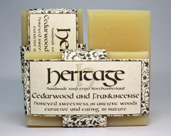 Handmade Soap bar. Cedarwood and Frankincense Essential Oils. Calming in nature, with a seductive edge. Pure, mild and gentle soap bar