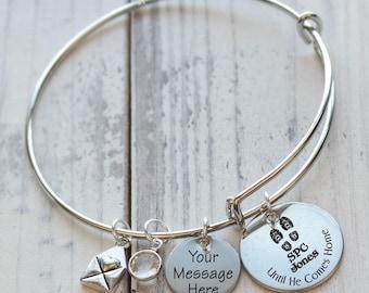 Until He Comes Home Armed Forces Wire Adjustable Bangle Bracelet