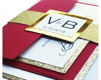 Gold and Red Glitter Wedding Invitations with belly band, gold glitter invitations, sparkle invitations, red invitations, gold wedding invi
