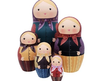140 Russian Nesting Dolls 5 pcs, handmade and hand painted matryoshka babushka matte colors