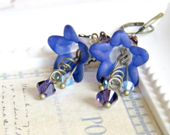 Midnight Blue Lucite Flower Earrings, Blue Earrings, Vintage Chic Earrings with Swarovski Crystals