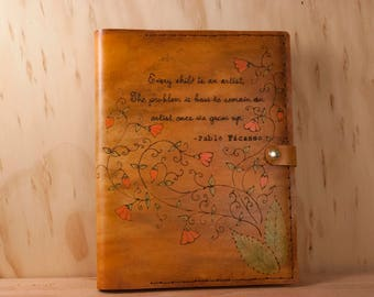 Personalized Sketchbook - Leather with Quote and Flowers in Pink and Antique Tan - Third Anniversary Gift for Her
