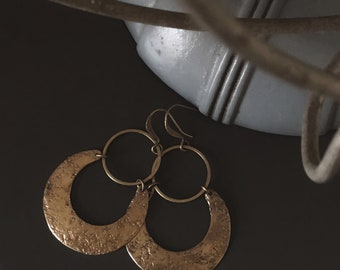 CIVAL Collective - Lana | Brass Hoop Earrings | Organic Hand Textured Brass | Simple Crescent Earrings