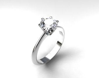 White topaz engagement ring, white topaz solitaire ring, unique engagement, topaz ring, white gold, yellow gold, crown setting, gemstone