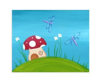 Fairy Garden Toadstool Print ~ Dragonfly Nursery Art