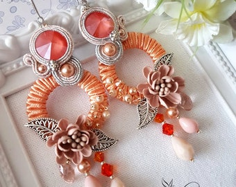Light Coral Peach Circle Soutache Earrings With Swarovski Crystals