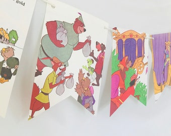 Robin Hood *B* Story Book Pages Bunting Pennants Nursery Decor Baby Shower Birthday Party Garland Flags