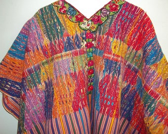 Guatemalan Huipil   Colorful  Handwoven Mayan Poncho  Large Size  Fine Handwoven