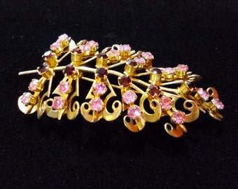 SALE Vintage Pink and Red Rhinestone Leaf Pin Brooch