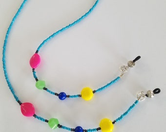 Vintage 80's Beads on a Sky Blue Eyeglass Lanyard