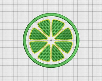 Lemon Lime Orange Fruit Slice Applique Embroidery Design in 3x3 4x4 5x5 and 6x6 Sizes