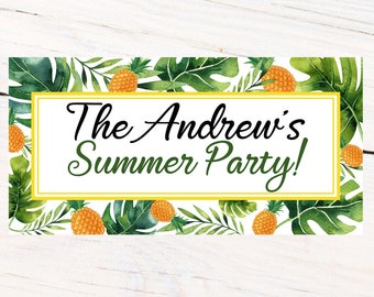 Summer Party Personalized Banner, Greenery Personalized Party Banners- Pineapple Large Photo Banner, Summer Fun Banner, Printed Banner