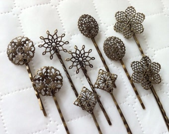 mixed 10 pcs Filigree Bobby Pin Blanks,,,Antique Bronze Flower Hair Pins , brass hair clip ,Hair Clip , perfect for resin cabochon.
