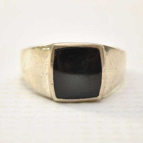 Onyx Large Square Stone in Plain Sterling Silver Ring Sz 12 #8786