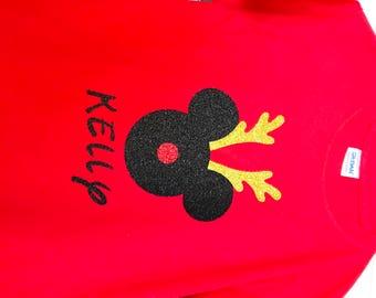 Mickey antler glitter shirt