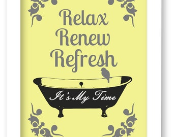 Yellow and Gray Bathroom Art Print, Bathtub, Birds, Relax, Renew, Rrefresh, Bathroom Wall Decor
