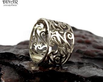 14k gold filigree wedding ring, wide boho statement womens gold ring, handmade gold lace Anniversary ring, gypsy bohemian gold wedding ring