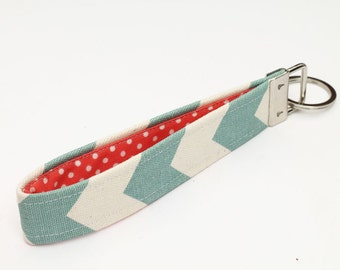 Fabric Key fob, Fabric Keychain Wristlet, Keyring, Key Lanyard - blue and white chevron stripes with coral red and white polka dots