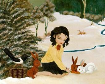 Winter Gathering Print 10x8 - Children's Art, Girls Room Art, Girl Art Print, Poster, Art for Children, Girls Decor, Art for Kids, Cute