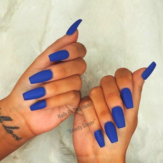 Matte About You: Matte Blue Nails Press On Nails coffin