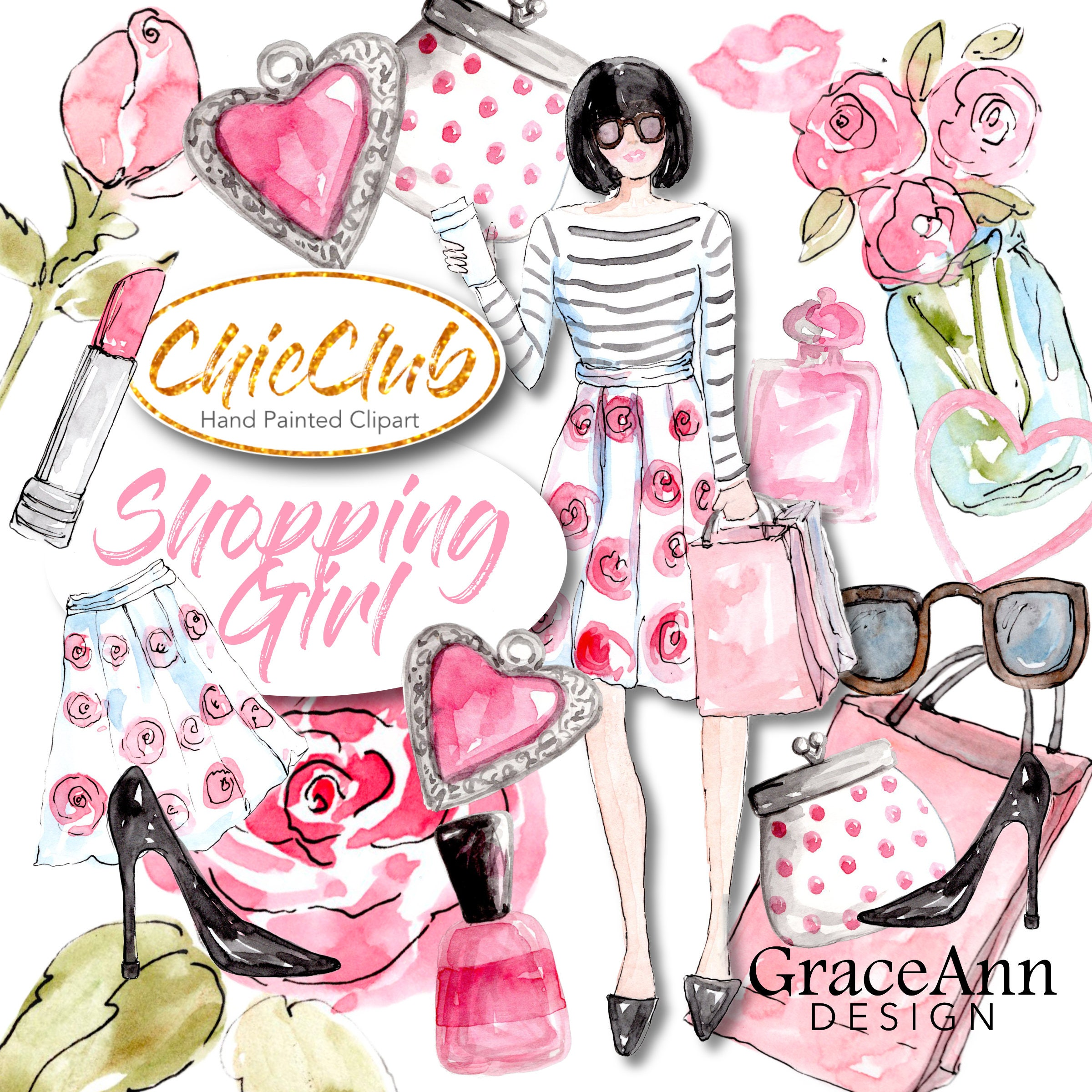 Fashion Clipart Shopping Girl DIY Invitations Girly Girl