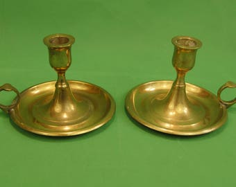 Vtg  Solid Brass Chamber Candlestick Holder Thumb Handle Matched Pair
